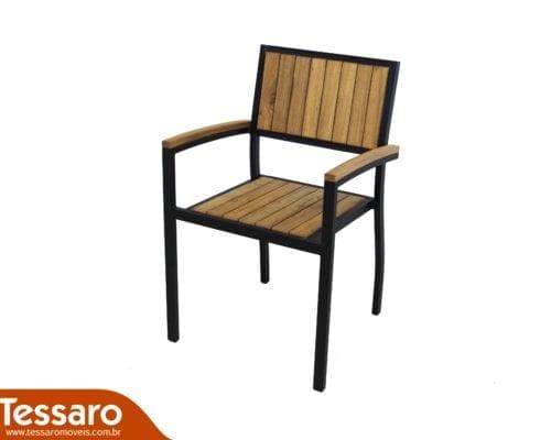 Cadeira com braço de madeira e alumínio cecilia modulare