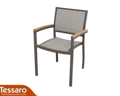 Cadeira com braço em fibra sintética cecilia modulare