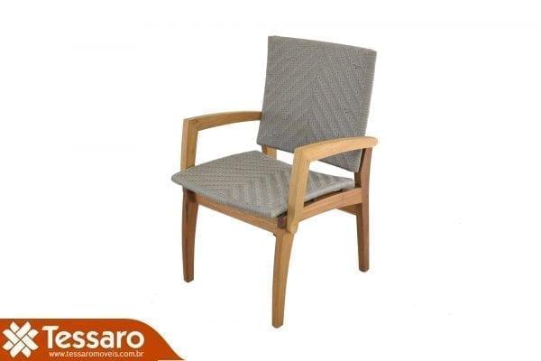 Cadeira com braço em fibra sintética e madeira freijo adorata