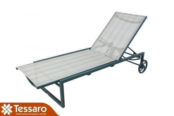 Chaise em tela sling com rodinha pariso