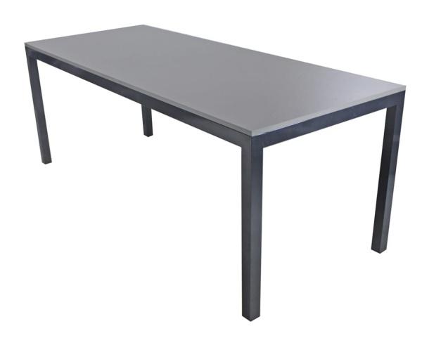 Mesa em alumínio com tampo em madeira Antoni
