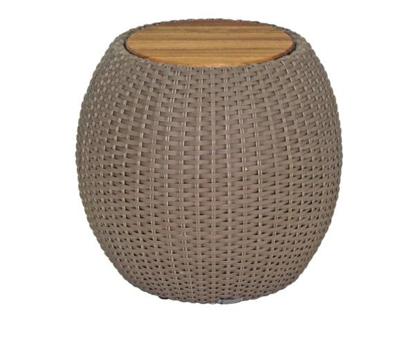 Puff em fibra sintética e tampo em madeira