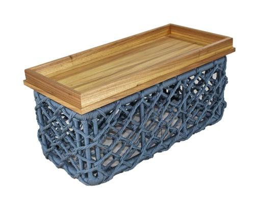 Mesa de centro em corda náutica e madeira creta